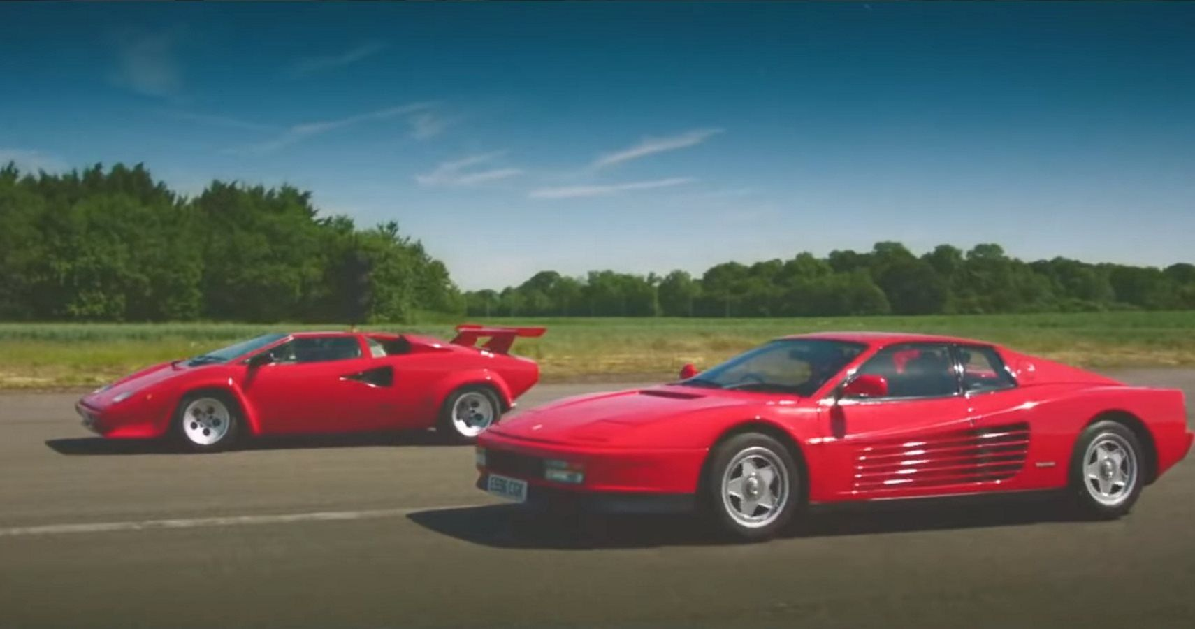 A Duel Of 80s Classics As Lamborghini Countach Takes On Ferrari
