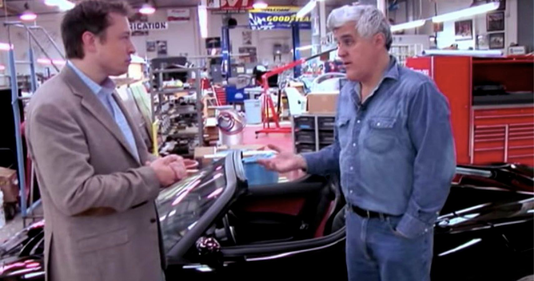 Flashback: Watch Jay Leno And Elon Musk Check Out The First Tesla Roadster
