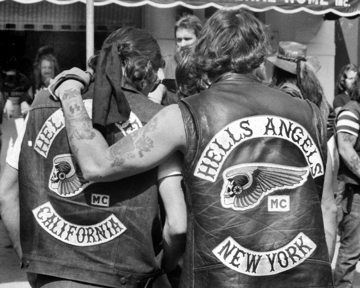 Hells Angels local member from New York consoles mourner fro