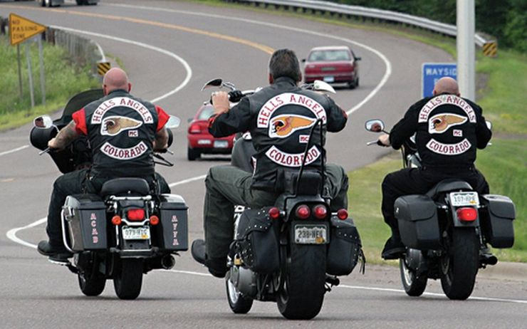 Hells Angels Riding On Road