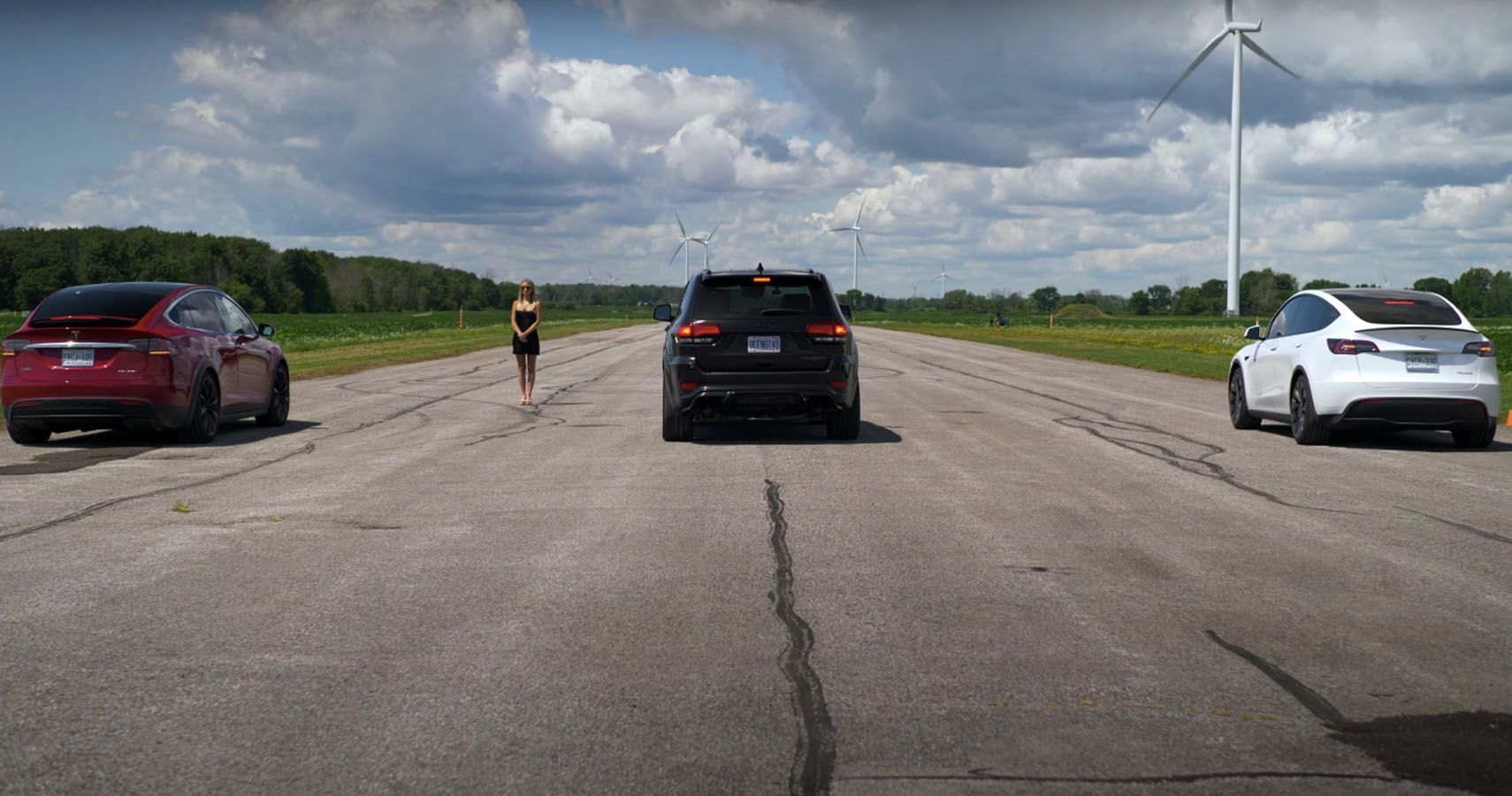 Throttle House Races A Jeep Trackhawk Vs Tesla Models Y And X