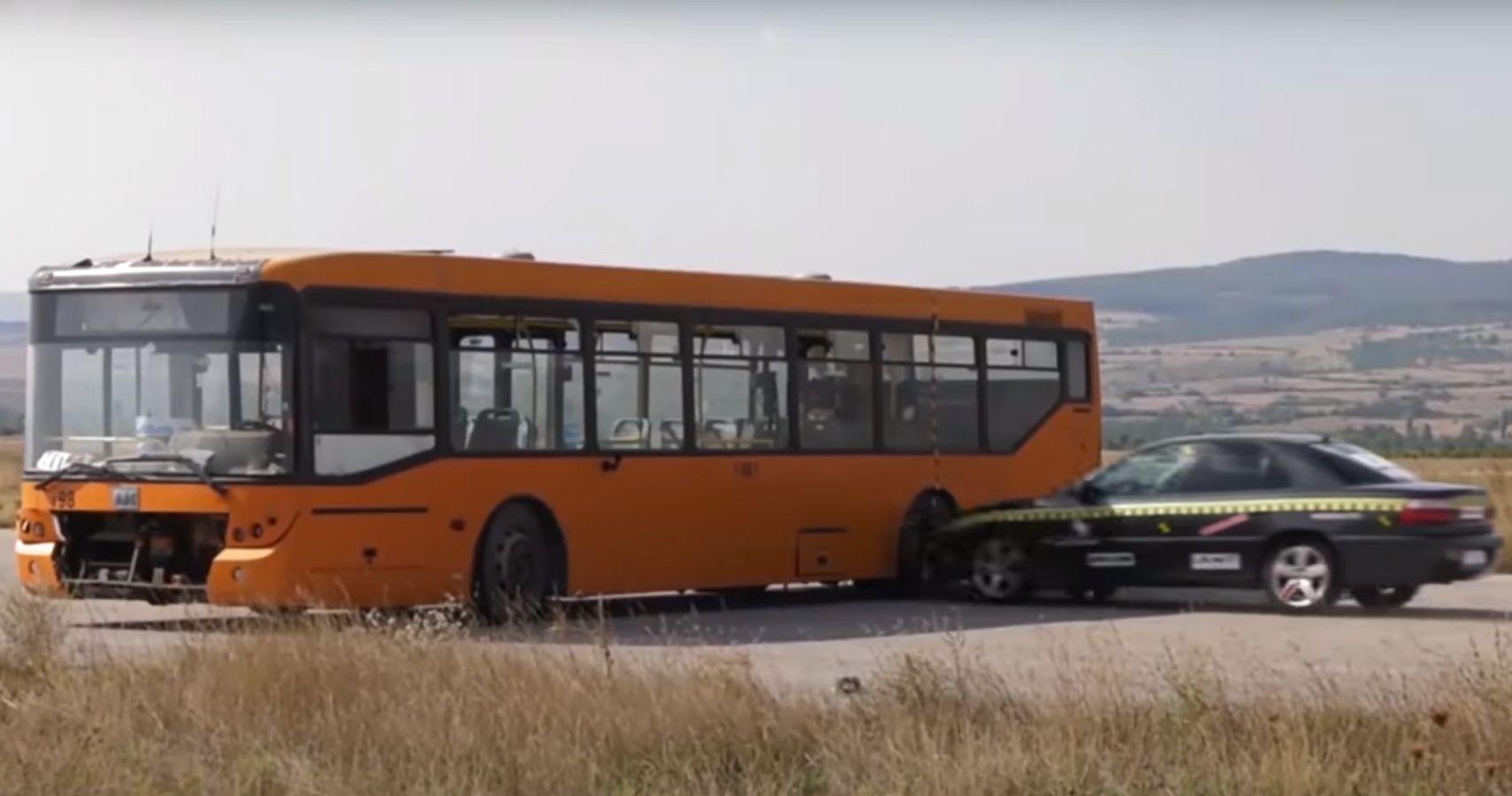 Watch The Impact A Driverless Sedan Makes Smashing Into A Bus At 129 MPH