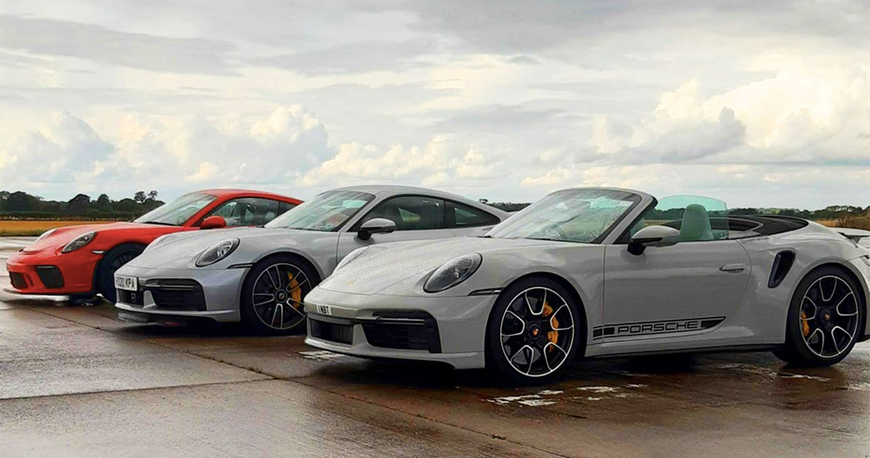 Watch A Porsche GT3 Race A Turbo S Coupe And Cabriolet For Sibling Supremacy