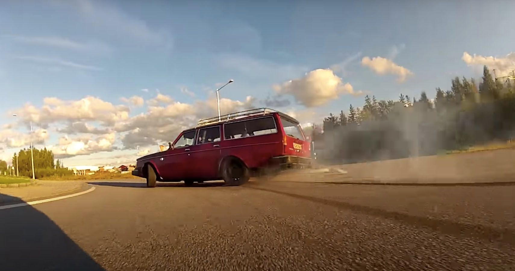 Watch This Insane Lambo V10-Swapped Volvo Do Donuts And Get A New Clutch