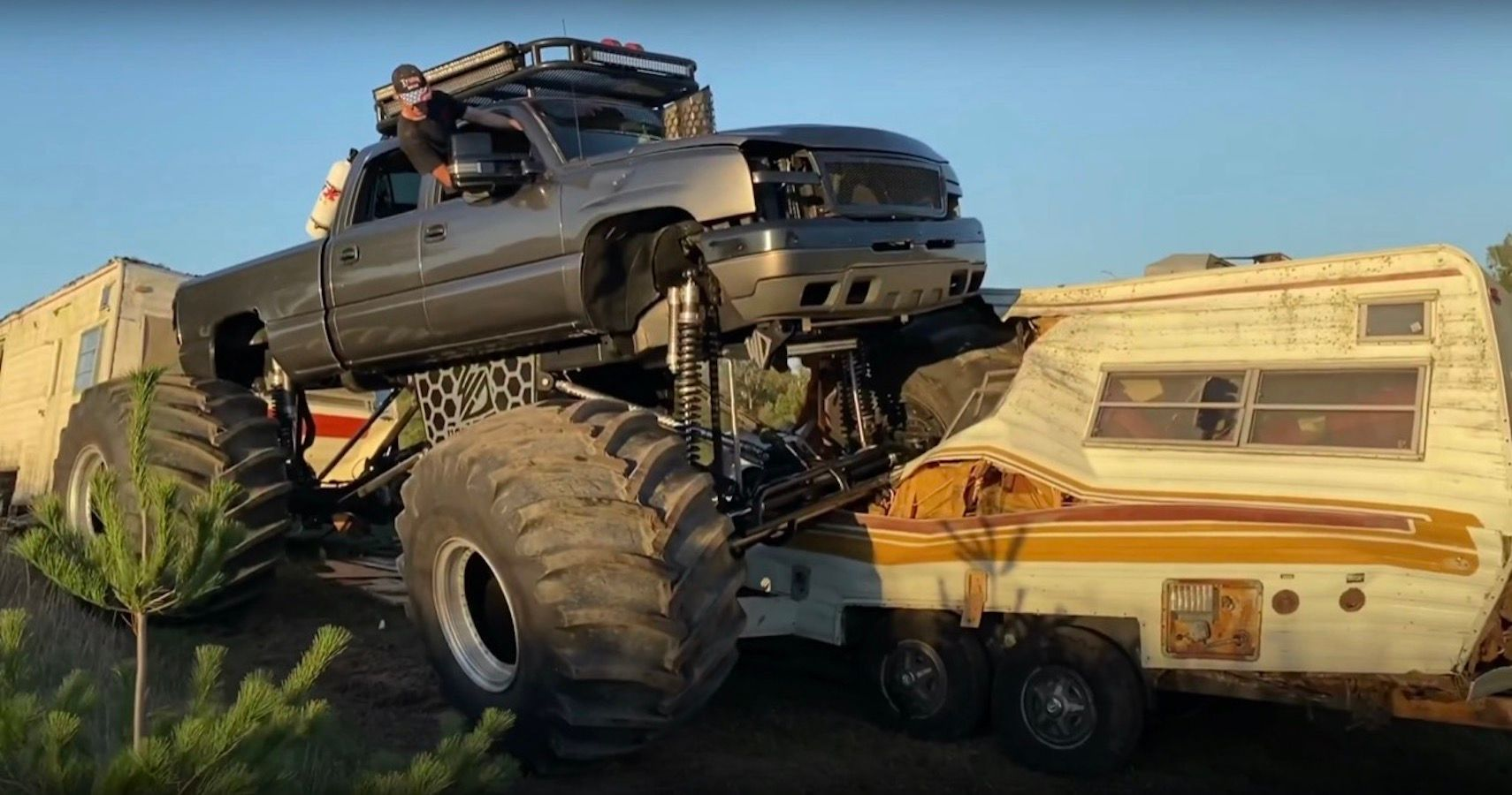WhistlinDiesel Trashes Gooseneck Trailers To Pieces With His Chevy Silverado MonsterMax