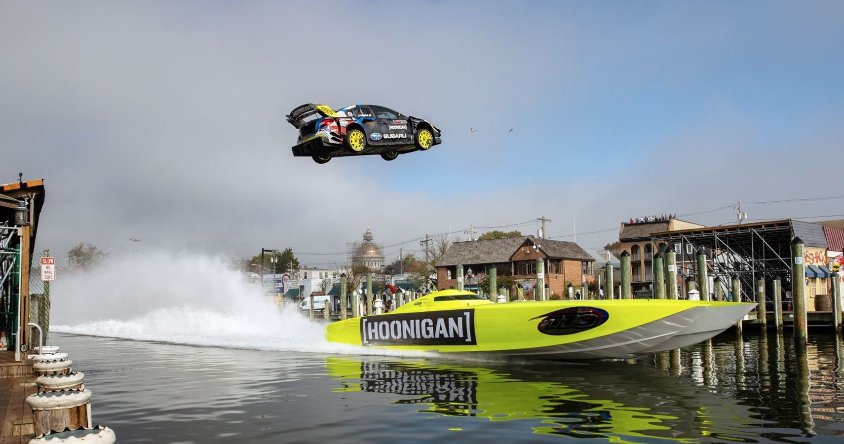 Watch This Subaru STI Jump Over Boats And Narrowly Escape Drowning In Gymkhana 2020