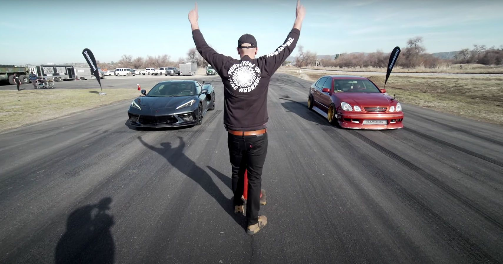 Heavily Tuned Lexus GS 300 Drag Races A Corvette C8 In Hoonigan 'This Vs That'
