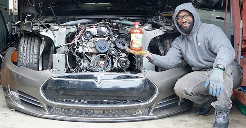 This Man Dropped A Corvette Engine In His Tesla Model S | HotCars