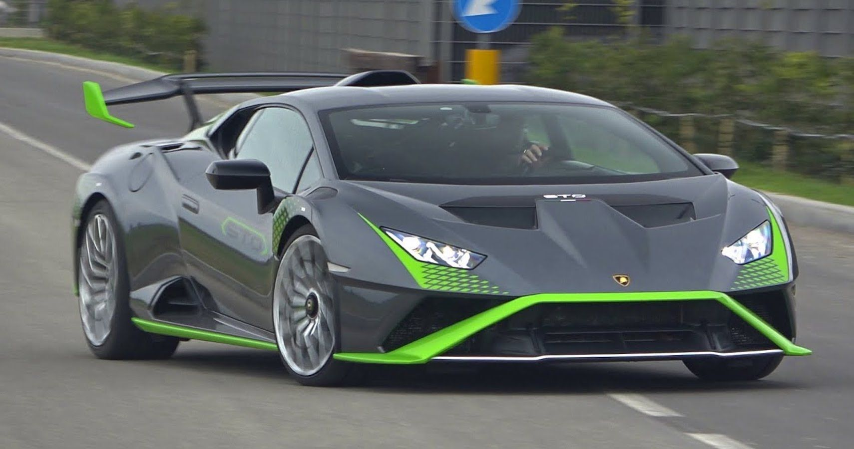 Lamborghini Huracan STO In Gray And Green Spotted Testing