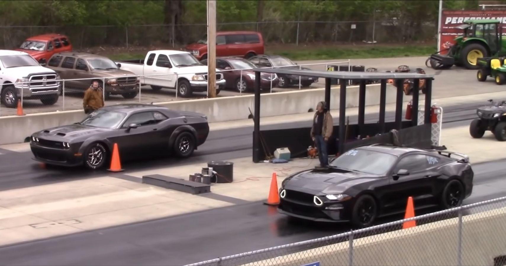 Challenger Hellcat Redeye Annihilates Roush Mustang On Drag Strip