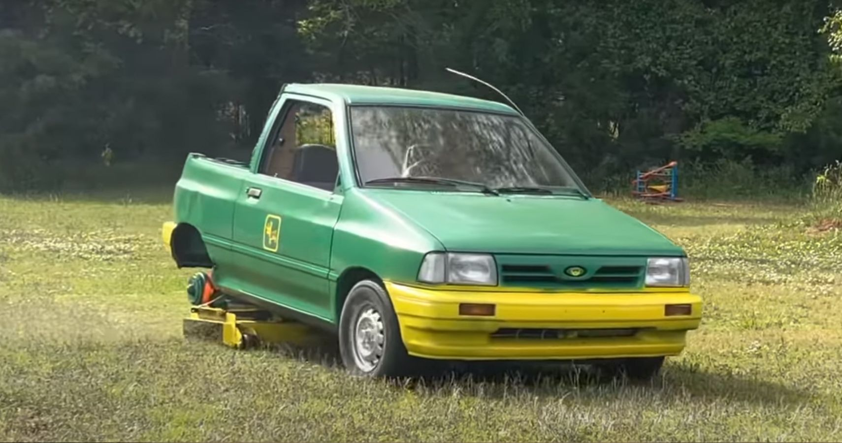 Watch How This Guy Mows His Lawn With What Used To Be A Ford Festiva