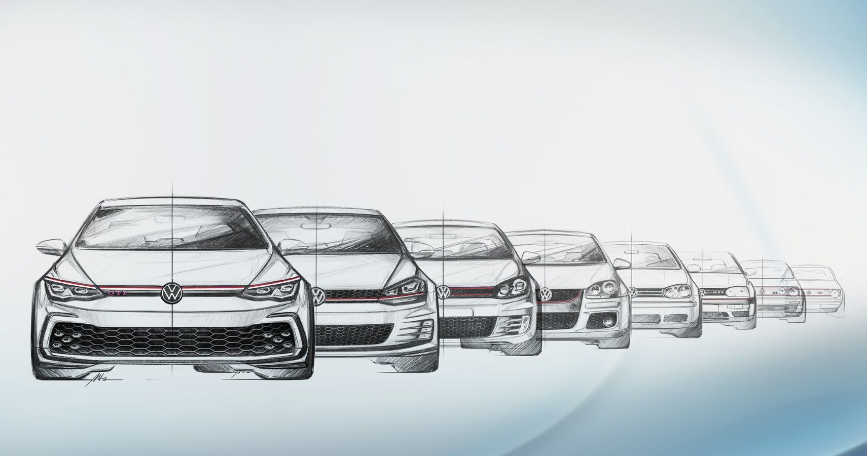 Volkswagen Highlights Eight Generations Of Golf GTI Face Design